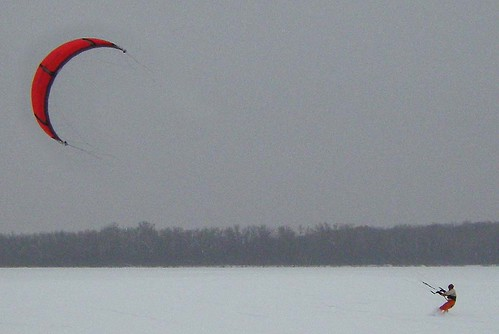 Kite Snowboarding on Lake Wingra