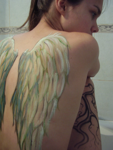 Wings Bird Body Painting for Girl