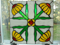 Black-eyed Susan square panel (begginfarmhouse) Tags: art glass stainedglass suncatcher daisy etsy blackeyedsusan panelglassbylauriebeggin