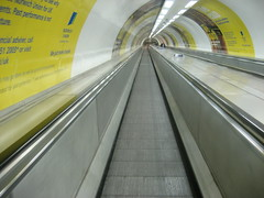 One of the long travelators at Bank