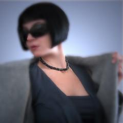 PERLA NERA (frucci) Tags: blue woman selfportrait black glass paper model handmade metallic gray jewelry pearls io jewellery ornament cube sunglass folded woven gioielli qoq collana frucccidesign fruspifruspi