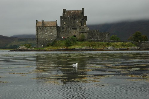 Eilean Donan castle on a grey day