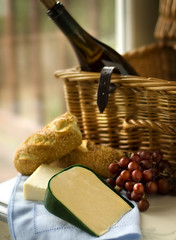 Picnic (fhansenphoto) Tags: 2 food set cheese bread picnic basket wine grapes