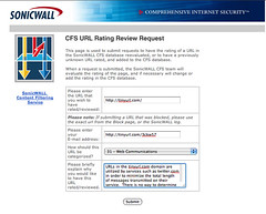 SonicWall CFS URL Review Request