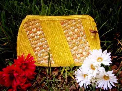 yellow straw oversized clutch