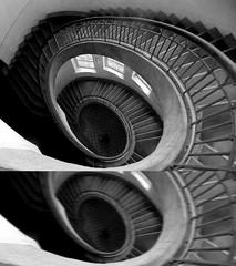 Vertigo (~Miel) Tags: stairs blackandwhite dittico diptic biancoenero vertigo weimar bauhaus dark feeling nikon beginner photoshop principiante coolpixl810 bridgecamera 2013