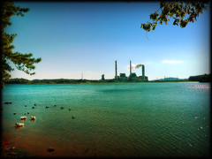Peace and Power (shiphome) Tags: blue industry water contrast nc asheville ducks smokestacks powerplant lakejulian clearskies