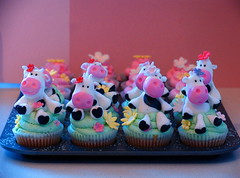 Cow Cupcakes (almost finished) (kylie lambert (Le Cupcake)) Tags: pool cupcakes thea most added favourited flickrland hrefhttpwwwflickrcomgroupscotccream cropa childrenscupcakes lecupcake couturecupcakes catchycolorspinkblue birthdaypartycupcakes cowcupcakes animalcupcakes catchycolorsflickrish fl0509