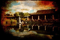 the old tea house (Yves.) Tags: sky tree texture colors clouds reflections chinesegarden teahouse gardensoftheworld chinesischergarten grtenderwelt mywinners gartendeswiedergewonnenenmondes aplusphoto ninianliftexture gardenofthereclaimedmoon