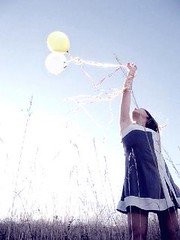 (dorellana) Tags: blue sky girl grass yellow weeds soft arm antique elle balloon shades faded reach adolescent dancedress