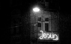 Jesus (Saves!) (Al Fed) Tags: street light bw snow building deleteme2 deleteme3 rain night lights saveme4 saveme5 saveme6 saveme darkness savedbythedeletemegroup saveme2 saveme3 saveme7 letters jesus cable saveme10 burning saveme8 saveme9 kassel saviour deleteme1 20071125 safedomino