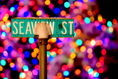 Seaview St - Chatham, Cape Cod (Chris Seufert) Tags: christmas street snow storm sign bokeh massachusetts chatham cape cod seaview bostonist photosharepodcastcom