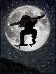 Week 49: Ing (LalliSig) Tags: portrait sky people moon mountain man motion reflection sport rock night stars landscape jump rocks nightscape hill digitalart ground portraiture skateboard mystical