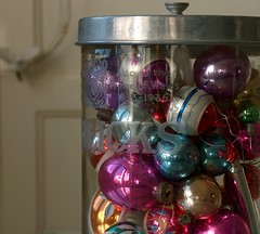 Glass jar with old glass baubles. (penwren) Tags: decorations glass ornaments lettering glassjar luckyme vintageglassbaubles midcenturyglassdecoration oldhorlicksjar byappointmenttothelatekinggeorgev gladshekeptit