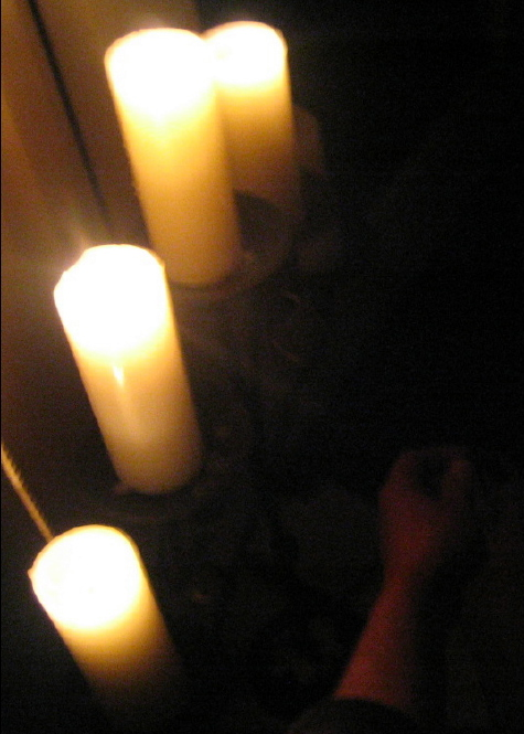 Painting toenails by candlelight