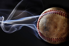 No Smoking (italian.meatball) Tags: black field canon ball baseball smoke smoking sharp slider fastball curveball strobe sinker seams 40d