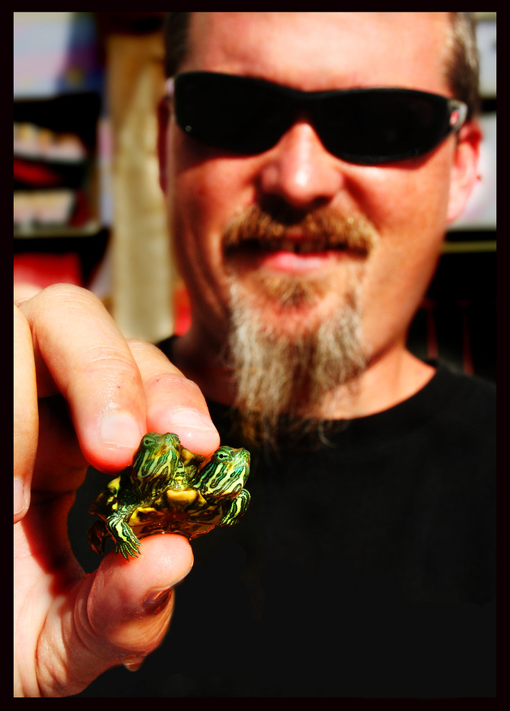 Todd Ray with Myrtle & Squirtle the Two-Headed Turtle