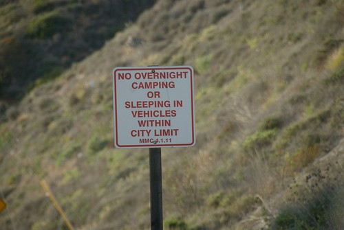 Malibu No Camping Sign PCH Northbound at City Limit