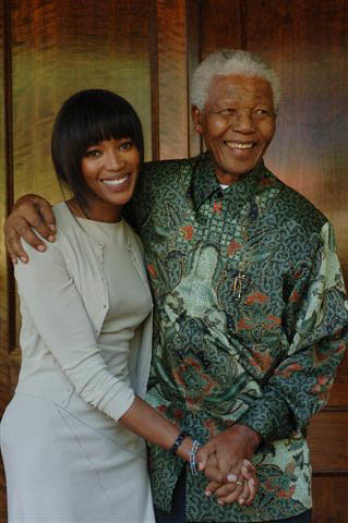 Naomi Campbell and former South African President Nelson Mandela during his tenure as head-of-state in the late 1990s.