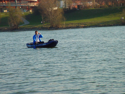 man on boat at the Danube