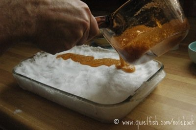 Maple syrup on snow