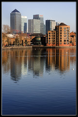 A View from Rotherhithe (GlyKr) Tags: uk london canarywharf rotherhithe surreyquays greenlanddock goldenglobe instantfave travelerphotos