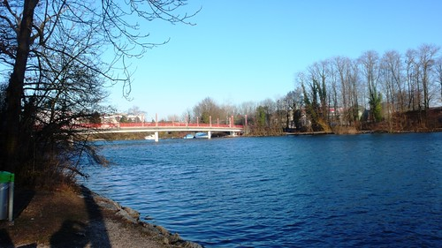 View towards bridge, River Aare, Solothurn