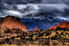 Garden of the Gods, Colorado Springs (Thad Roan - Bridgepix) Tags: trees winter snow mountains clouds landscape scenery colorado gardenofthegods landmark explore coloradosprings wikipedia redrocks hdr pikespeak photomatix 200802