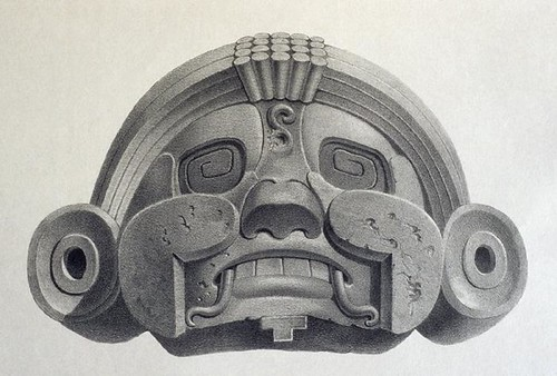 Maya city of Uxmal - grotesque mask (1838)