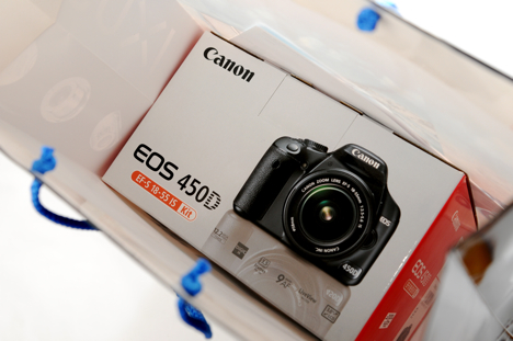 Canon XSi /450D box in a shopping bag