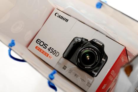 Canon XSi /450D box in a shopping bag