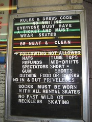 The Moonlight Rollerway's rules and dress code. (05/17/2008)
