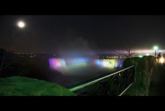 Untitled (Amir With His New Camera) Tags: light sky people moon motion tree water clouds composition niagarafalls nightimages nightshot niagara falls walkway ghosts waterdrops