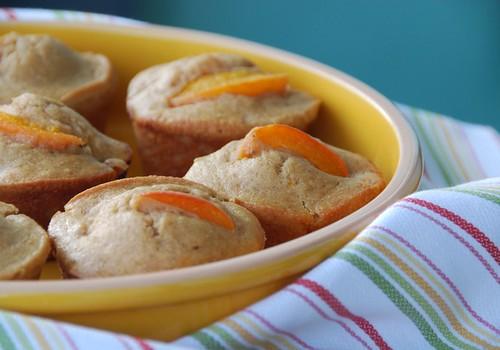 apricot muffins yellow dish