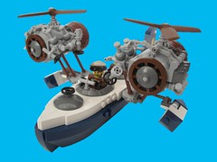 """Blue Cat"" Flying Boat (2 Much Caffeine) Tags: lego flyingboat steampunk moc foitsop dontbedaftthatcouldntfly ridiculouslycumbersomeengines"