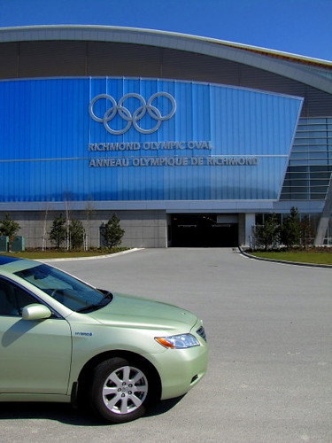 The Richmond Olympic Oval, a LEED green building and a visitor's green car, a Toyota Prius