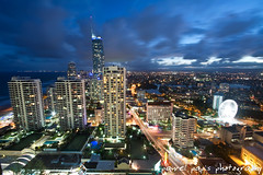 (Pawel Papis Photography) Tags: ocean street new city blue light sky urban cloud building tower beach water lamp skyline architecture modern night skyscraper town downtown cityscape view apartment dusk district scenic wave australia landmark center scene aerial midtown queensland metropolis tall metropolitan tenniscourt goldcoast