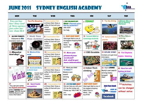 SEA calendar June 2011