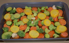 layer frozen vegetables over meat stew