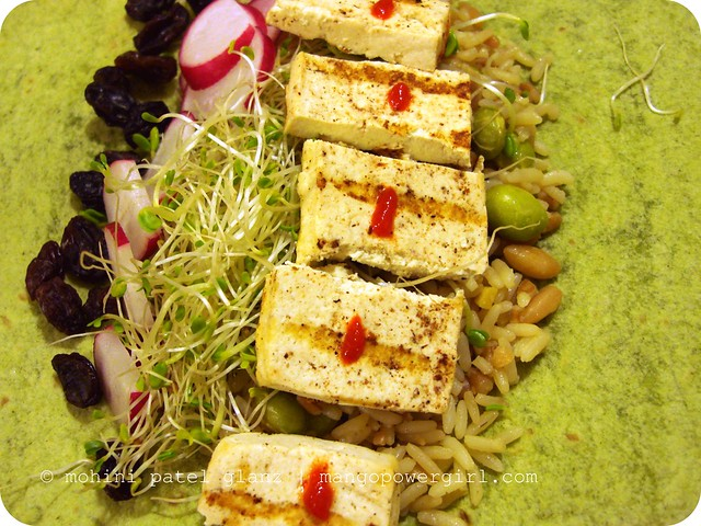 grilled tofu in a wrap