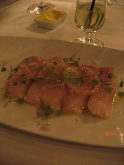 Hamachi with preserved lemon sea salt and red onion