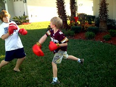 Lucas and Nathan Boxing on Christmas Eve (sommerspeople) Tags: fone