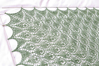 Flower Basket Shawl Blocked