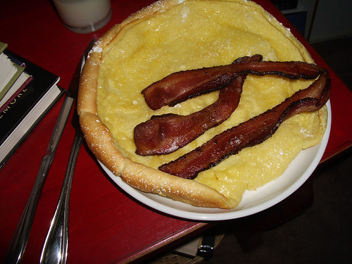 German pancake and bacon
