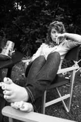 Samantha (Amelia-Jane) Tags: portrait blackandwhite feet fashion backyard jeans samantha nailpolish toenails plasticcup awesomephoto
