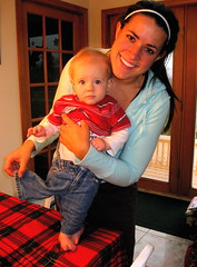 Aunt Christy needs more practice dressing a baby that never stops moving.