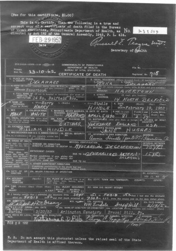 Harry Death Certificate