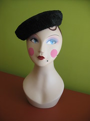 Mimi with white bow hat - front view