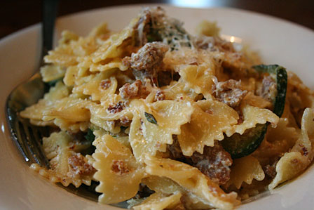... and Easy Dinner: Farfalle with Ricotta, Zucchini, and Italian Sausage