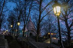 Funiculaire (sdupimages) Tags: light night nuit escaliers stairs sacréecœur funiculaire bluehour heurebleue rue street montmartre paris